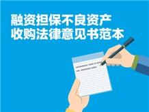 融资担保不良资产收购法律意见书范本
